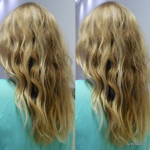 Aqui imagens do cabelo no fim do dia, depois de ar condicionado + sol + vento