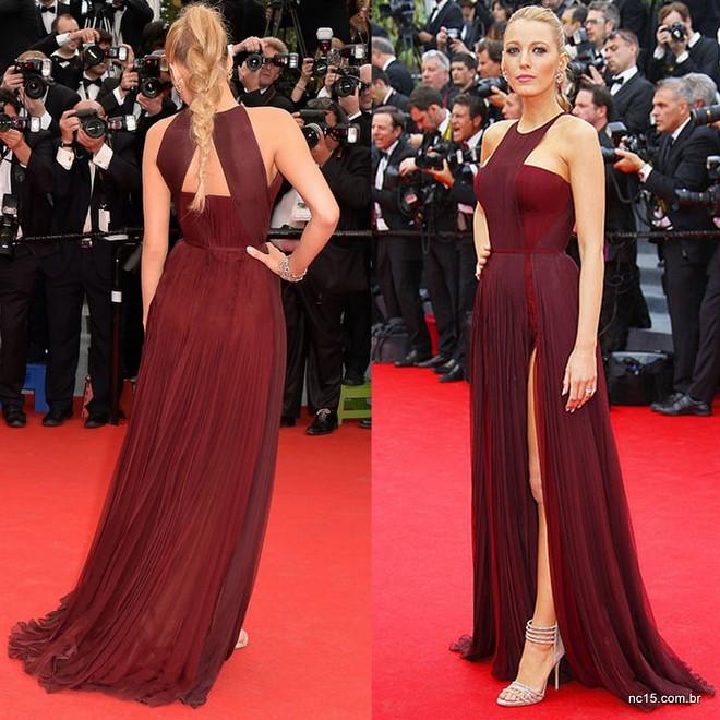 Blake Lively usando vestido Gucci bordô no festival de Cannes 2014