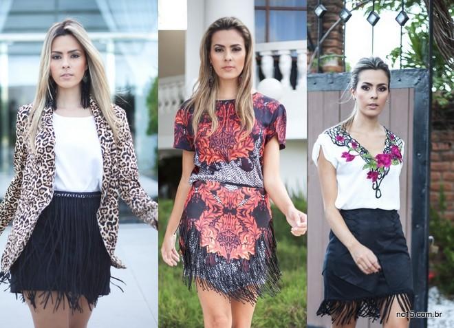 Renata Uchoa em três versões de saia de franjas