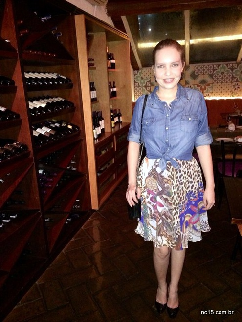 meu look para jantar romântico usando camisa jeans Bunnys, vestido Calf, sapato Calzature e bolsa SDesign