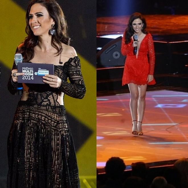 Tatá Weneck usou vestido longo preto Martha Medeiros e depois um curtinho, também de renda, desta vez vermelho, para apresentar o prêmio multishow 2014