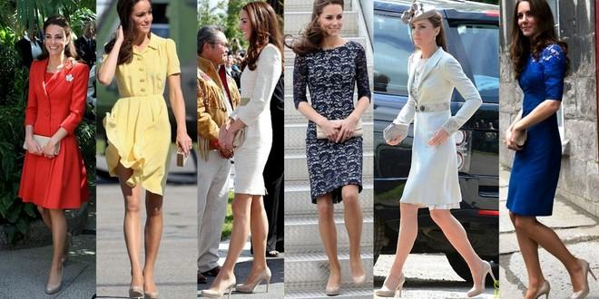 A princesa Kate Middleton usando sapato nude em diversas ocasiões