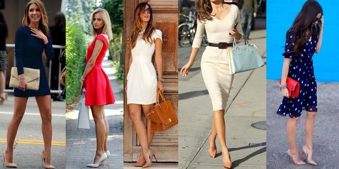 Sapato cor da pele combinado com vestido