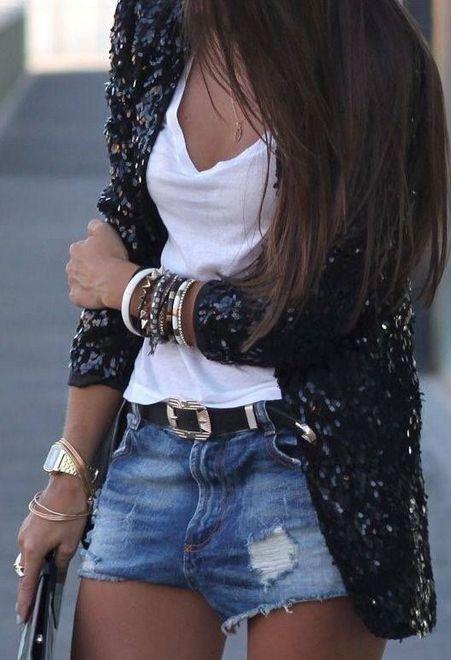 Shorts com blazer brilhoso