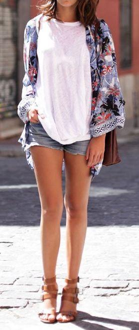 shorts jeans com quimono