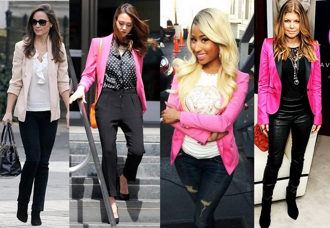 Pippa Middleton, Jessica Alba, Nicki Minaj e Fergie apostam no blazer rosa