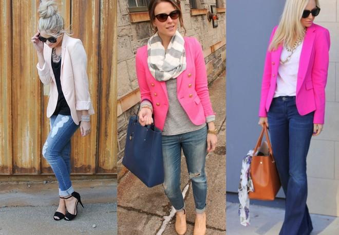 pink blazer com calça jeans