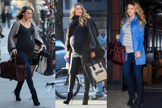 Blake Lively grávida usando calças e botas de cano curto de salto altíssimo