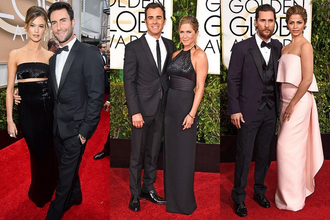 Adam Levine e Behati Prinsloo; Justin Theroux e Jennifer Aniston e Matthew e Camila Mcconaughey