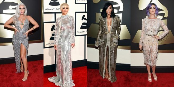Lady Gaga num longo brilhoso de alça e decote profundo. Rita Ora com longo prata de gola alta e fenda profunda. Kim Kardashian em um vestido que mais parece um roupão dourado bordado e Katy Perry em um midi de mangas longas brilhoso e com cinto