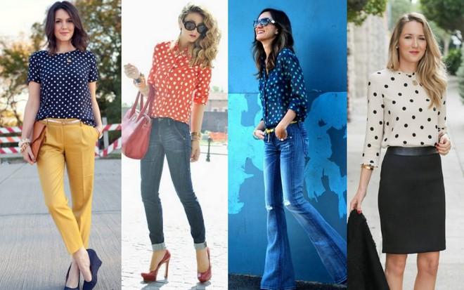 Blusa manga curta azul com bolinhas brancas combinada com calça mostarda; camisa vermelha com bolinhas brancas e calça jeans; camisa azul com bolinhas preta e calça jenas; blusa branca com bolinhas combinada com saia lápis preta