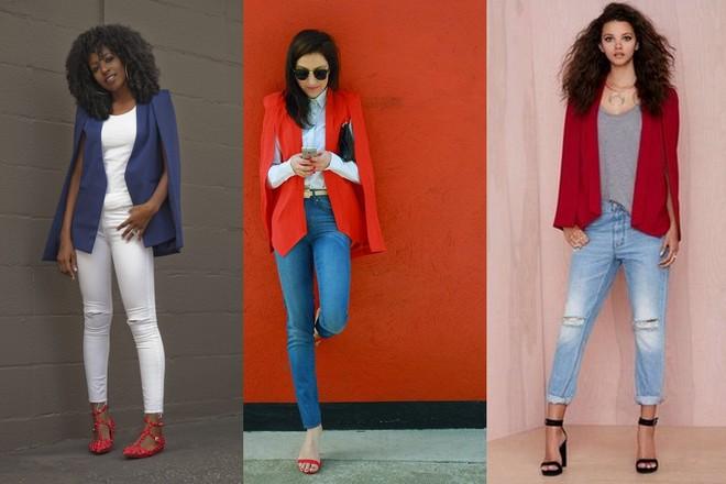 blazer azul para arrematar a produção com calça e camiseta branca;  blazer capa vermelho com camisa azul e calça jeans; blazer capa marsala com calça jeans e camiseta mescla