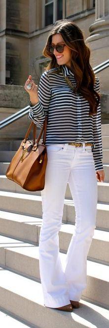 camisa listrada e calça branca
