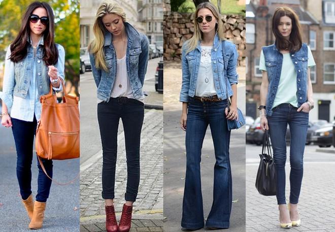 Colete jeans claro com calça escura. Jaqueta com calça skinny escura. jaqueta jeans claro com calça flare azul escuro e colete com calça boyfriend, tudo azul jeans