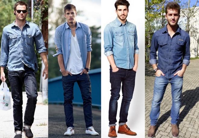 Homens usando calça e camisa jeans