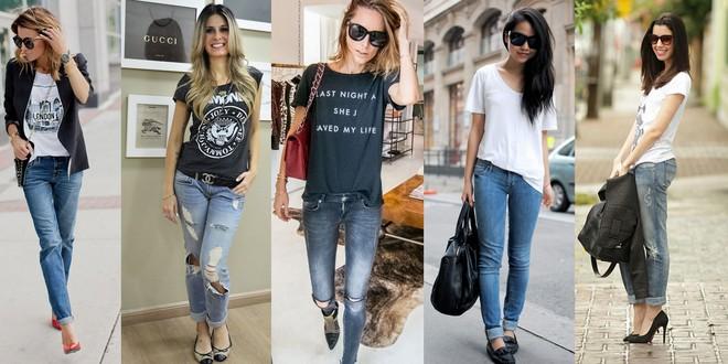 camiseta com calça jeans