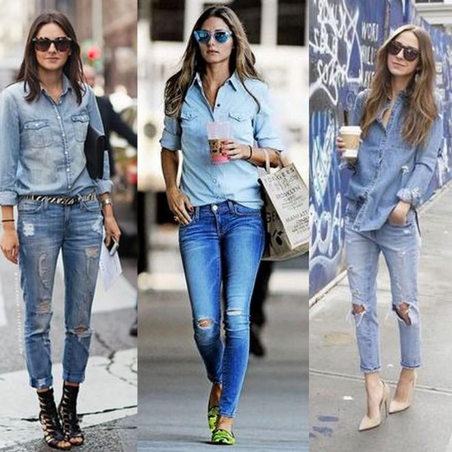 calça jeans destroyed com camisa jeans