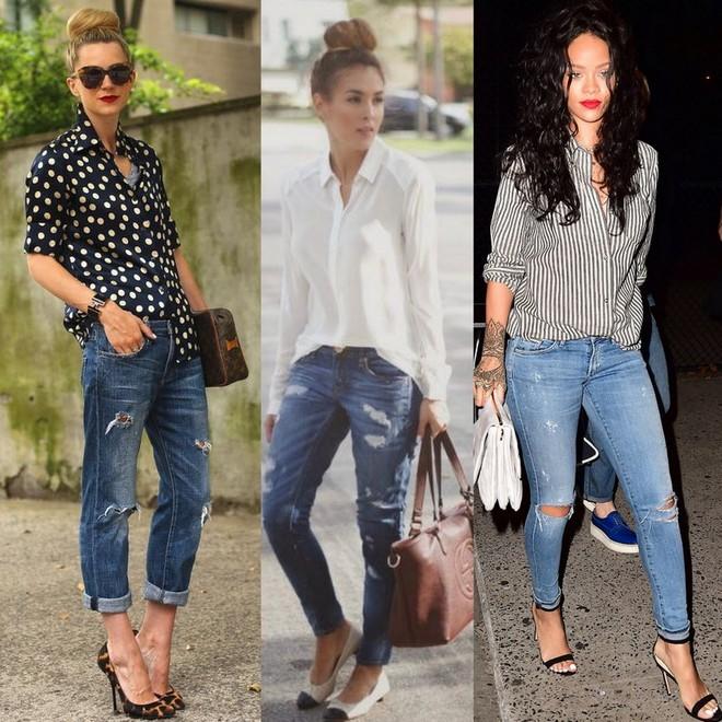 calça jeans destroyed com camisa