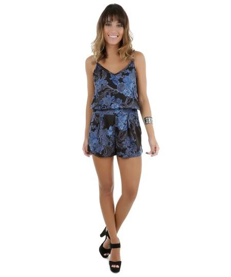Macaquinho Floral Azul Marinho