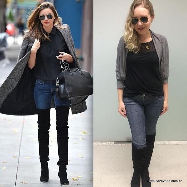 Eu usando blusa preta da C&A, calça e jeans e casaco cinza, repetindo minha otk da H&M, mais óculos Ray-Ban
