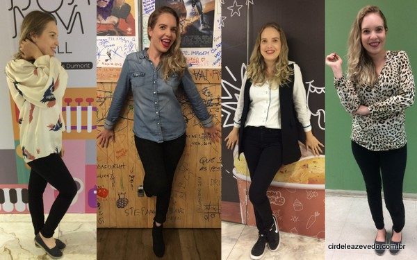 Calça preta compondo quatro looks. O primeiro com blusa estampada; o segundo com camisa jeans; o terceiro com camisa social branca; e o quarto com blusa de animal print