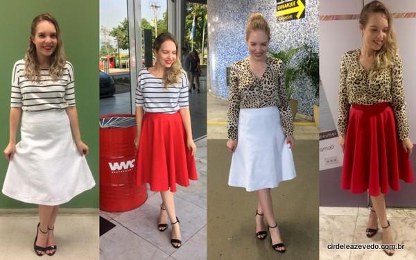 Blusa listrada com saia branca; blusa listrada com saia vermelha; blusa animal print com saia branca; e blusa animal print com blusa de animal print