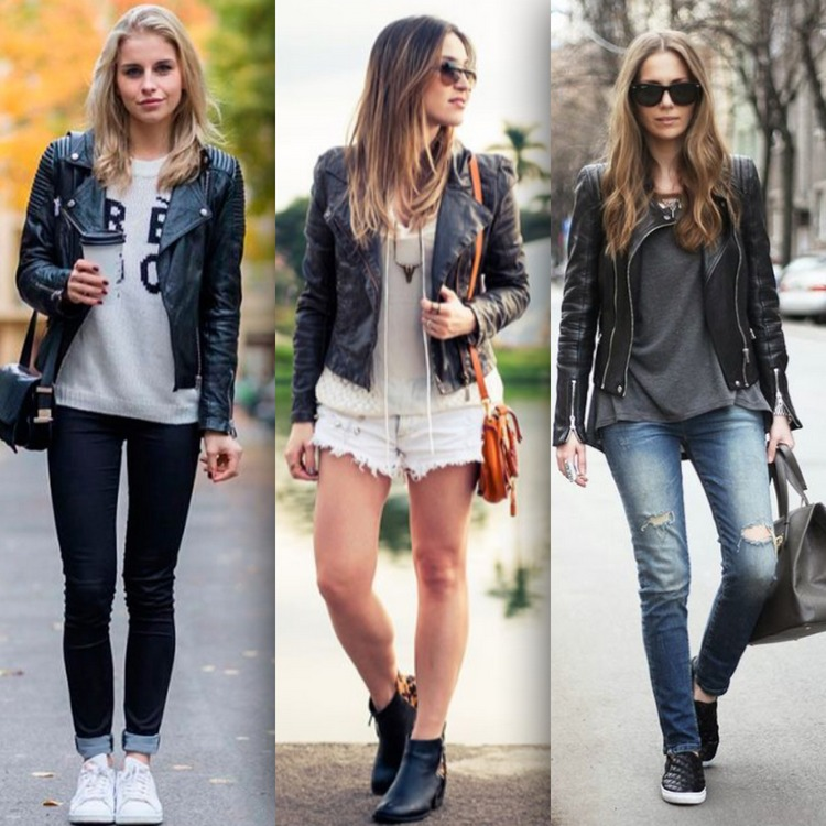 Jaqueta de couro fake na cor preta, usada com calça preta, shortinho jeans e calça jeans