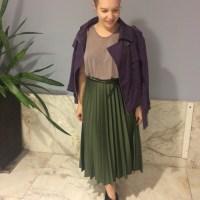 Meu look 3 com 1 com saia verde plissada