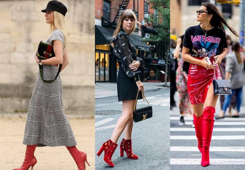 Bota vermelha combinada com saias