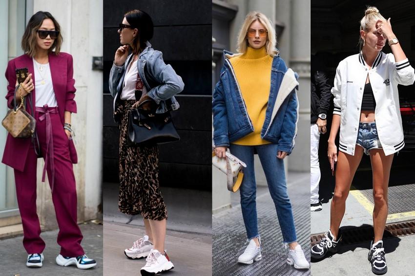 Na imagem, dad sneaker com conjunto social roxo, saia animal print e jaqueta jeans, look all jeans de jaqueta e calça e blusa amarela, com shorts jeans curto e jaqueta bombar branca