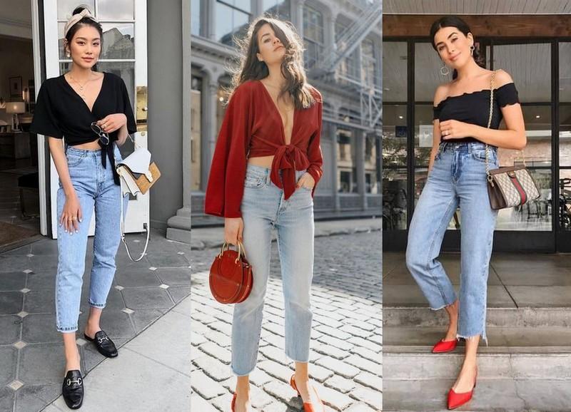 Mom jeans com blusas curtas