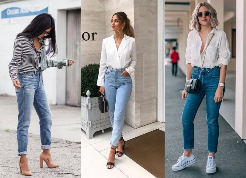Mom jeans com blusa e camisa social
