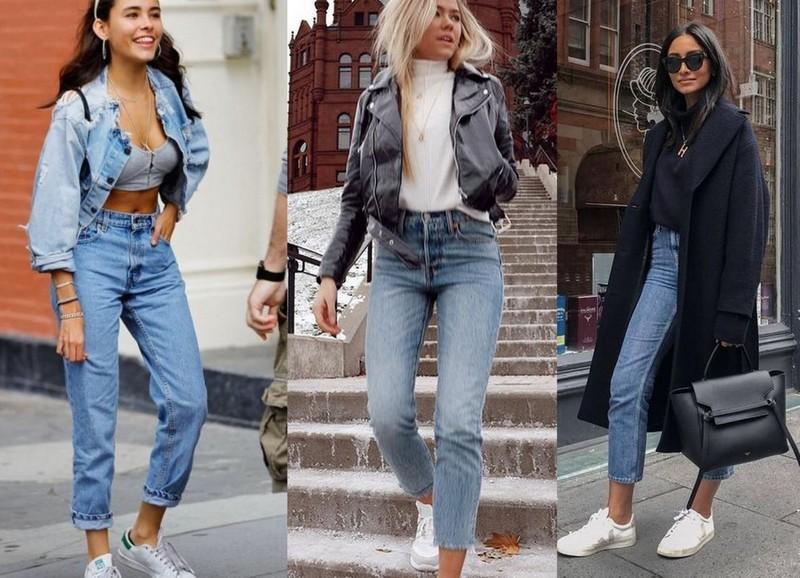 Mom jeans com jaqueta jeans ou de couro, ou ainda com casaco