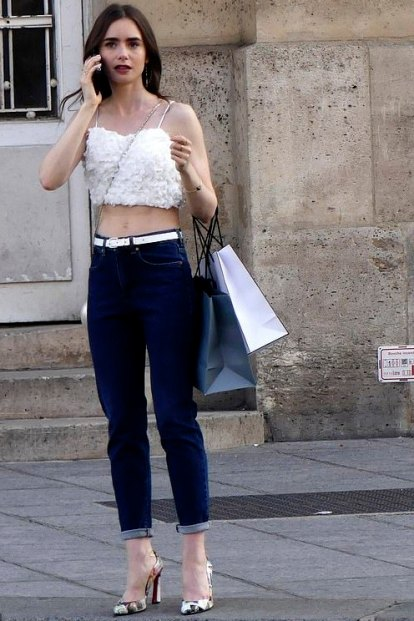 White top cropped and blue jeans pants