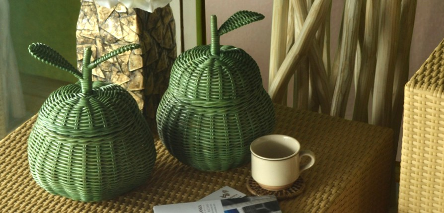 apple basket green rattan furniture