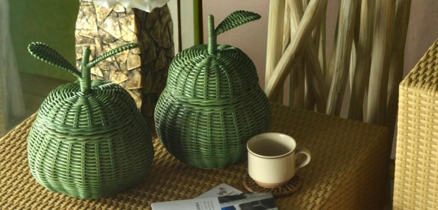 apple basket green rattan furniture