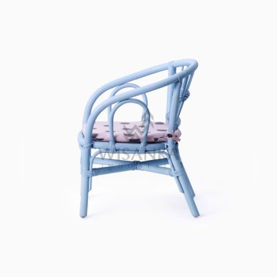 Jimmy Blue Kid's Natural Rattan Chair With Cushion side