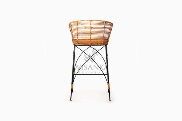 Chloe natural rattan wicker Bar Chair rear