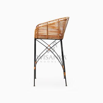 Chloe natural rattan wicker Bar Chair side