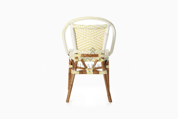 Elle Natural Wicker Dining Arm Chair rear