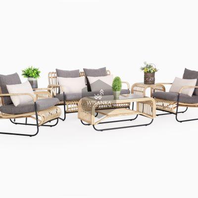 Akko Living Set - Natural Rattan Furniture