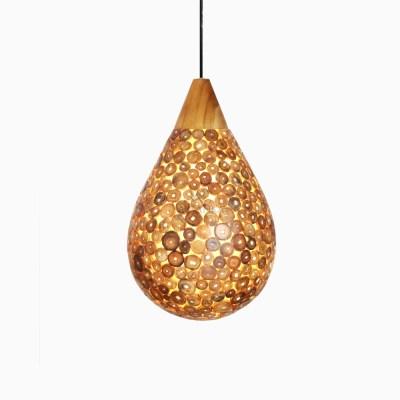 Kelom Hanging Lamp with Teak - Pendant Ceiling lamp - on