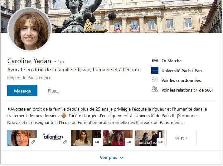 Profil Linkedin de Caroline Yadan Pesah