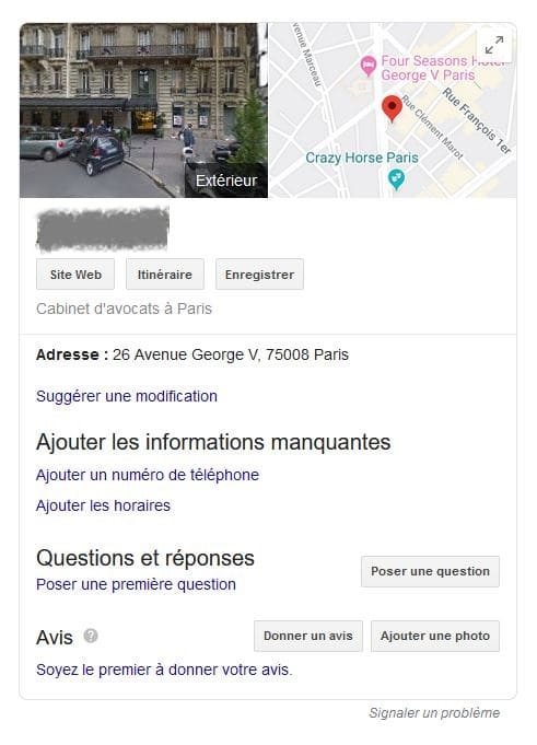 Fiche Google My Business cabinet d'avocat par défaut