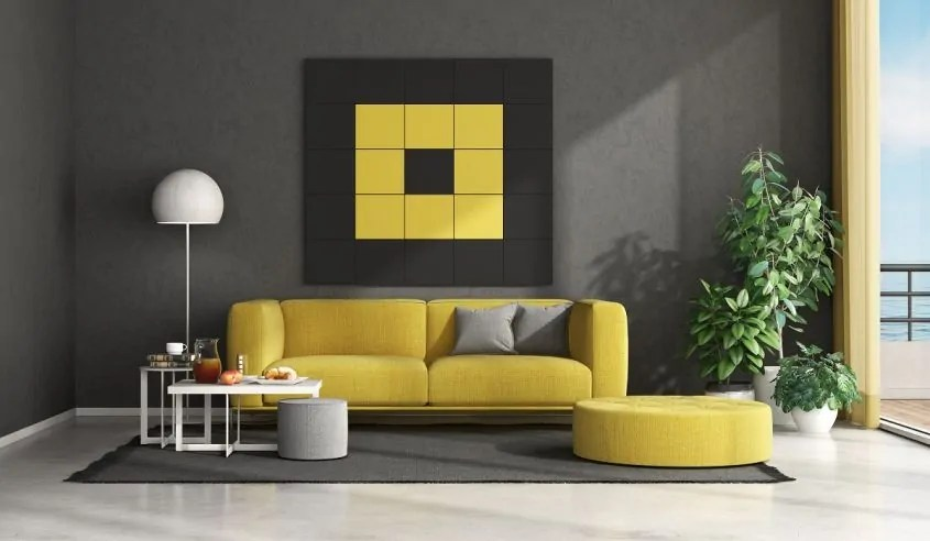 giallo e grigio arredamento