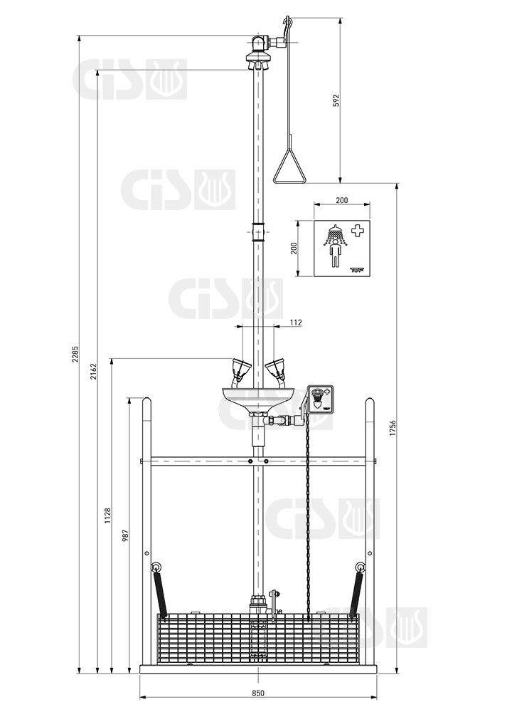 Emergency shower with platform and eye-washer.Separate