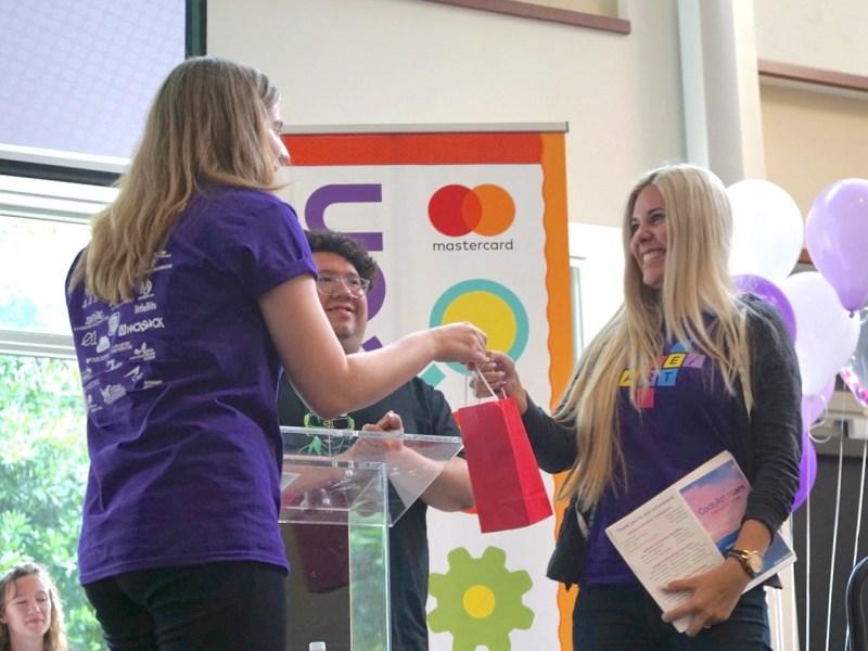 Photo of Kierstin winning Top Teacher Award
