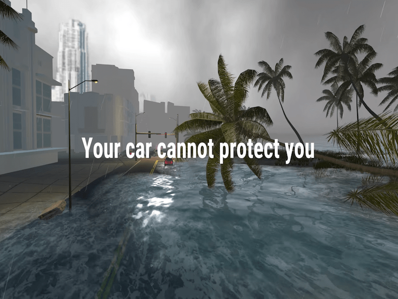 Screenshot of VR Storm Surge Visualization