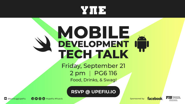 Flyer of UPE Mobile Development tech Talk event