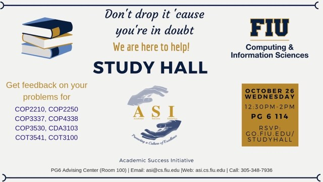 Flyer of ASI Study Hall